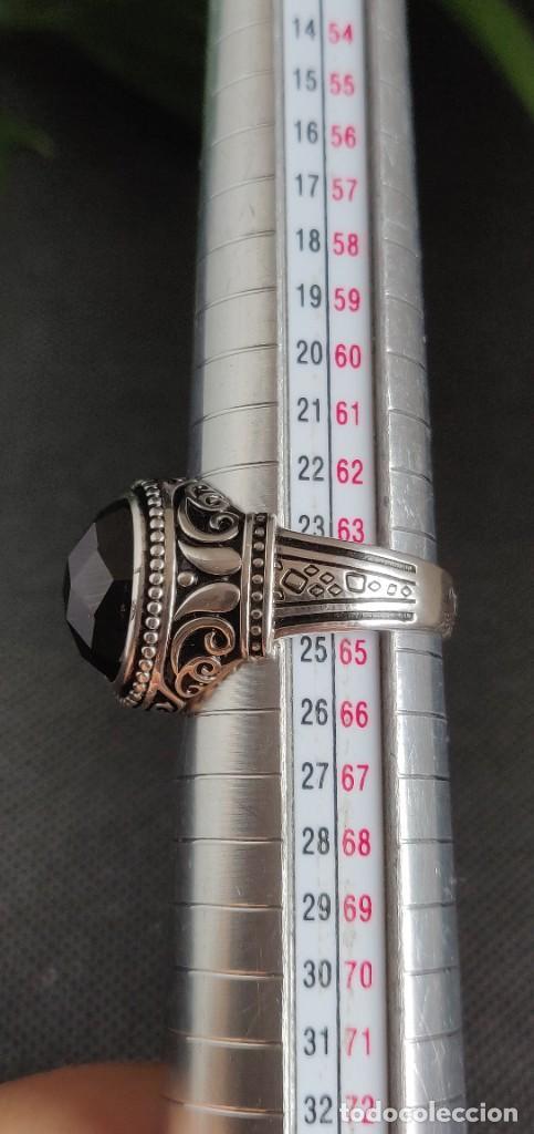 Joyeria: Anillo de hombre de plata esterlina 925 y Ónix ,n° 24 equivalente a 20.3 mm y 9.56 g. - Foto 10 - 269730798