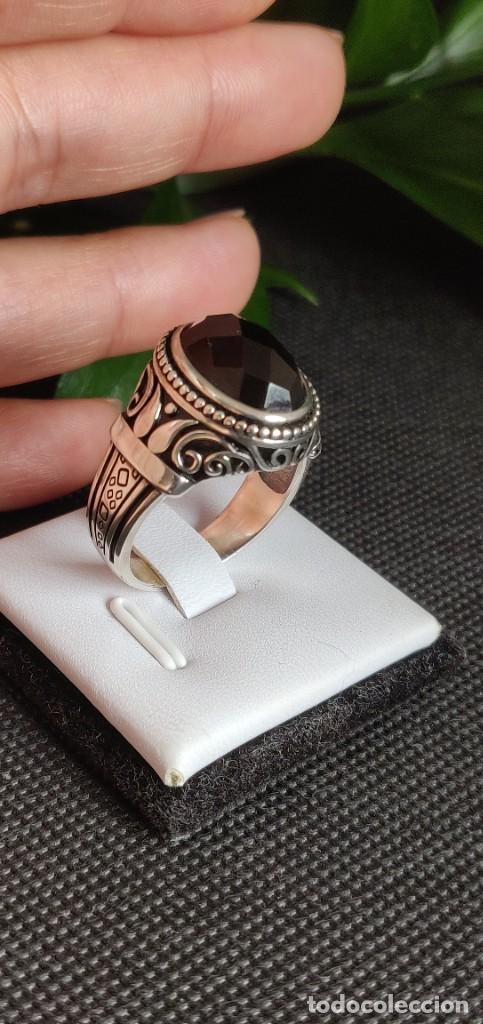 Joyeria: Anillo de hombre de plata esterlina 925 y Ónix ,n° 24 equivalente a 20.3 mm y 9.56 g. - Foto 11 - 269730798