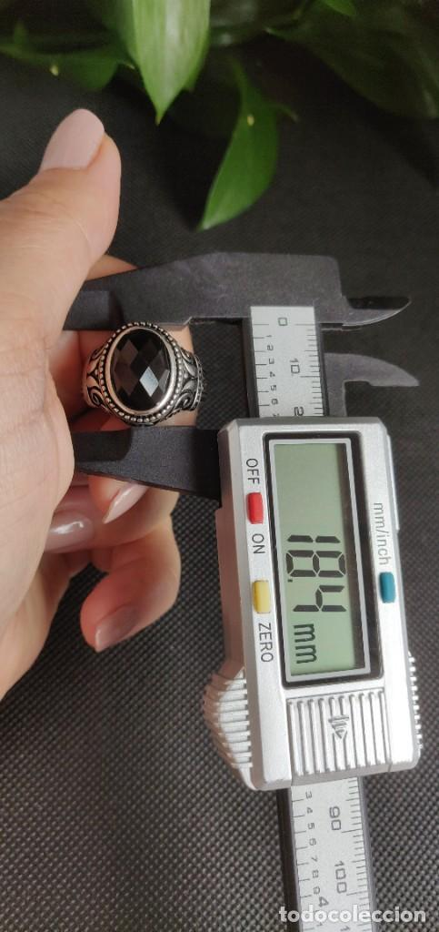 Joyeria: Anillo de hombre de plata esterlina 925 y Ónix ,n° 24 equivalente a 20.3 mm y 9.56 g. - Foto 15 - 269730798