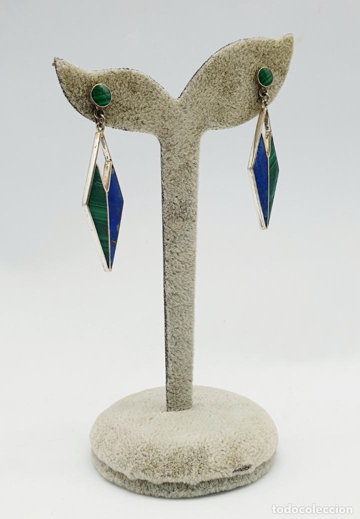 Joyeria: Estilosos pendientes antiguos art decó en plata de ley 950, lapislázuli y malaquita autentica . - Foto 2 - 270110468