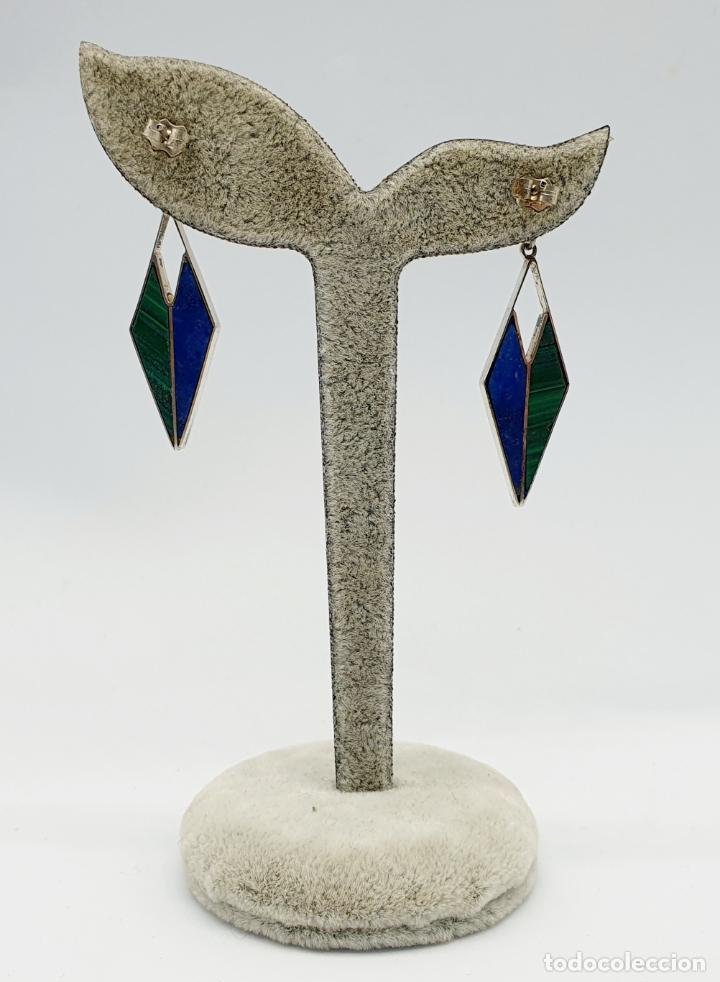 Joyeria: Estilosos pendientes antiguos art decó en plata de ley 950, lapislázuli y malaquita autentica . - Foto 3 - 270110468