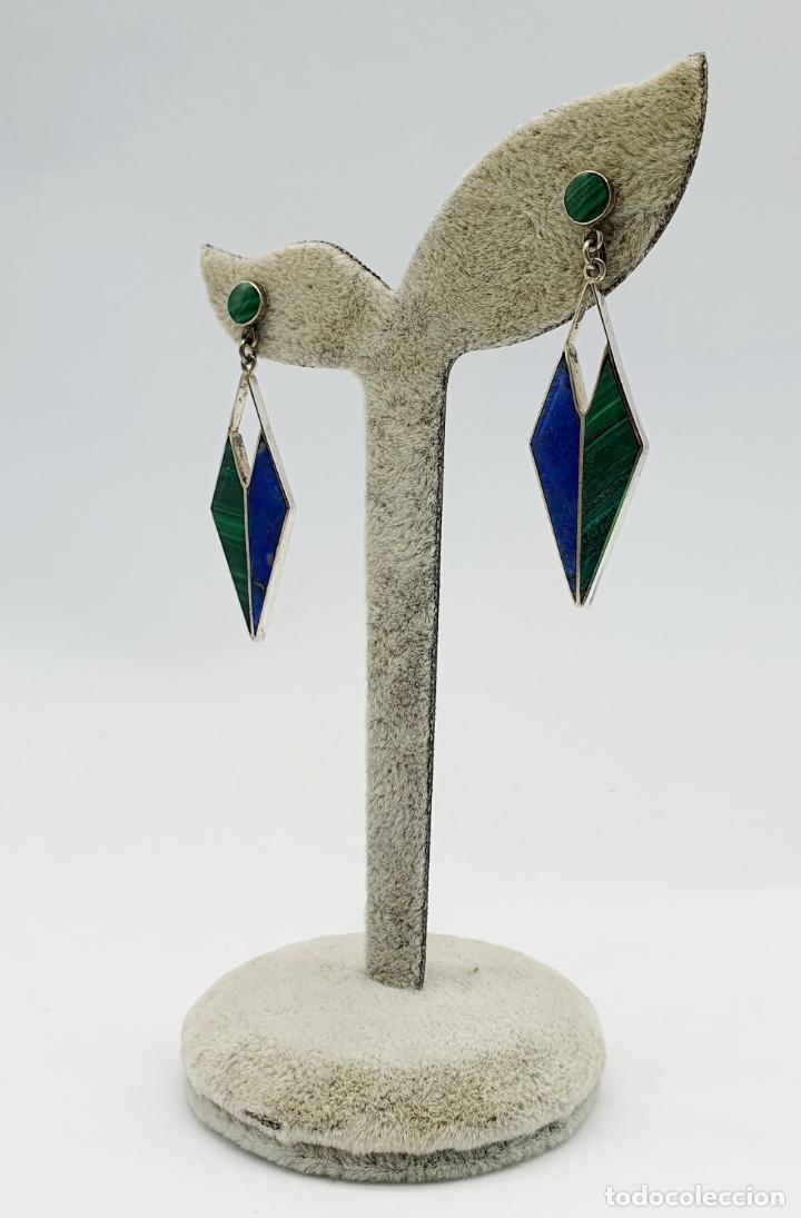Joyeria: Estilosos pendientes antiguos art decó en plata de ley 950, lapislázuli y malaquita autentica . - Foto 4 - 270110468