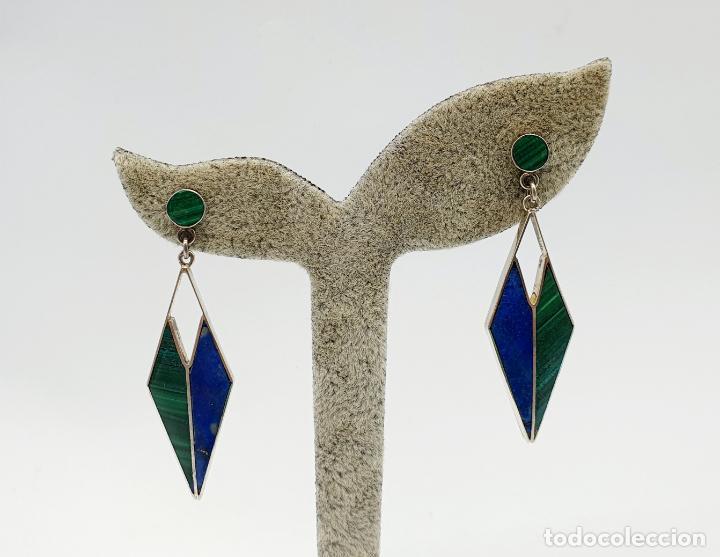 Joyeria: Estilosos pendientes antiguos art decó en plata de ley 950, lapislázuli y malaquita autentica . - Foto 5 - 270110468