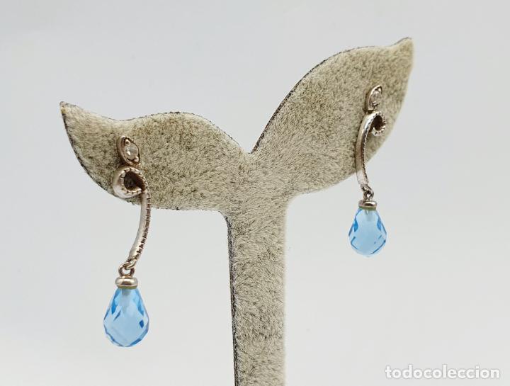 Joyeria: Elegantes pendientes vintage en plata de ley, circonitas y topacios creados talla briolette . - Foto 2 - 270118308
