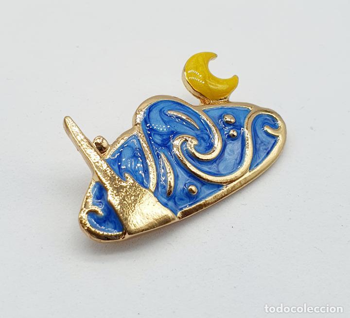 Joyeria: Elegante broche de la noche estrellada de Vincent van Gogh con baño de oro y esmaltes al fuego . - Foto 2 - 270120958