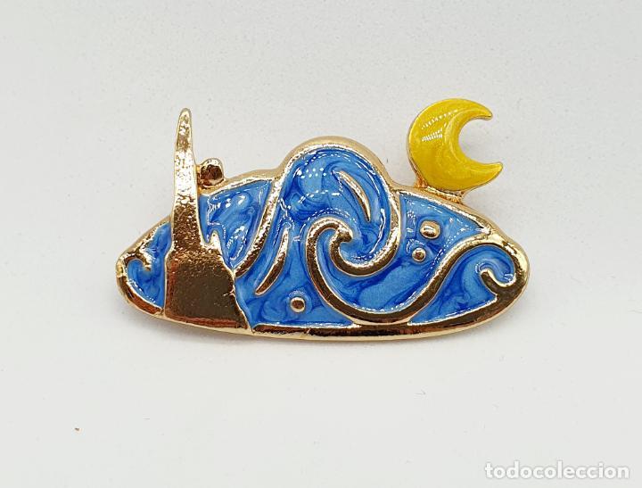 Joyeria: Elegante broche de la noche estrellada de Vincent van Gogh con baño de oro y esmaltes al fuego . - Foto 3 - 270120958