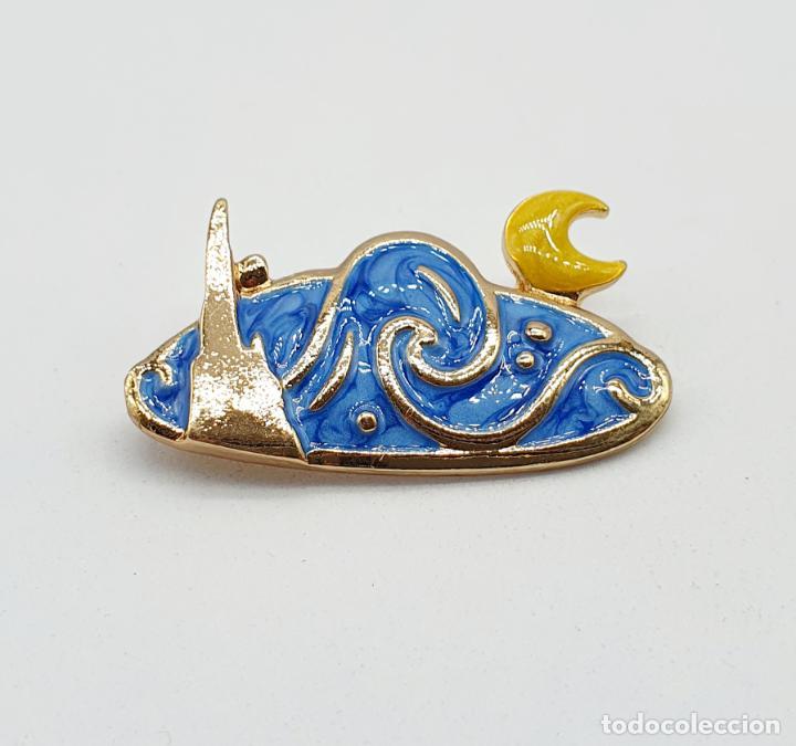 Joyeria: Elegante broche de la noche estrellada de Vincent van Gogh con baño de oro y esmaltes al fuego . - Foto 6 - 270120958
