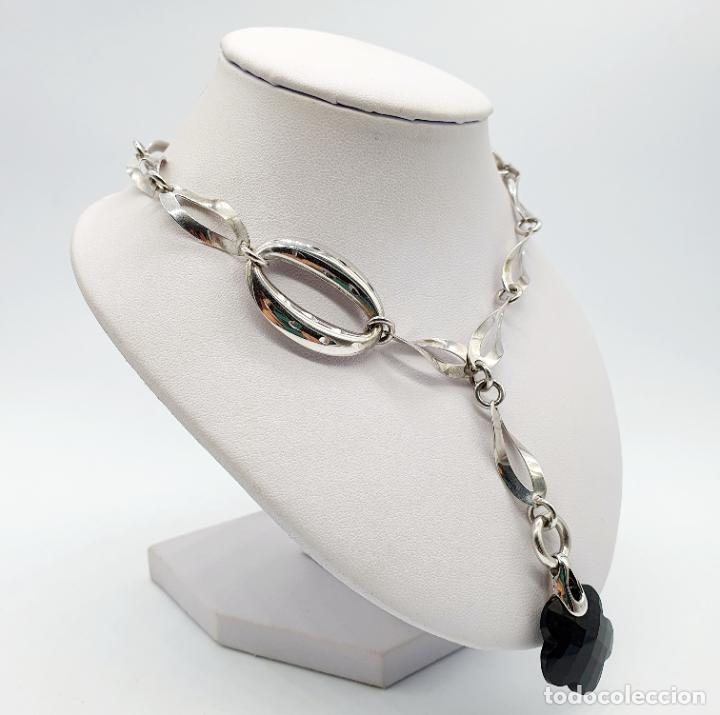 Joyeria: Original y sofisticada gargantilla en plata de ley 925 con dije de ónix facetado en forma de flor . - Foto 4 - 271377988