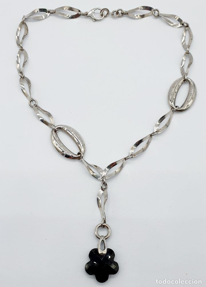 Joyeria: Original y sofisticada gargantilla en plata de ley 925 con dije de ónix facetado en forma de flor . - Foto 5 - 271377988