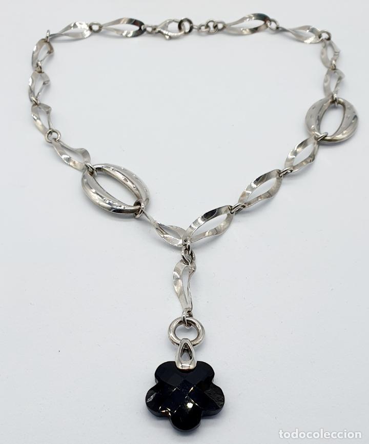 Joyeria: Original y sofisticada gargantilla en plata de ley 925 con dije de ónix facetado en forma de flor . - Foto 6 - 271377988
