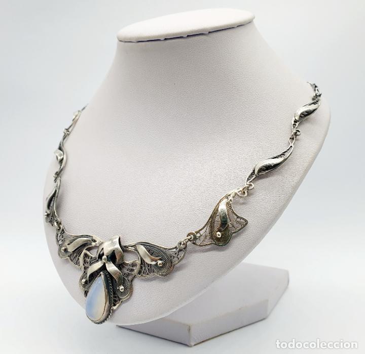 Joyeria: Magnífica gargantilla antigua estilo imperio en filigrana de plata de ley y cabujón de ópalo de mar - Foto 2 - 271387923