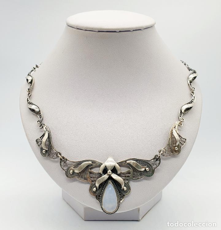 Joyeria: Magnífica gargantilla antigua estilo imperio en filigrana de plata de ley y cabujón de ópalo de mar - Foto 3 - 271387923