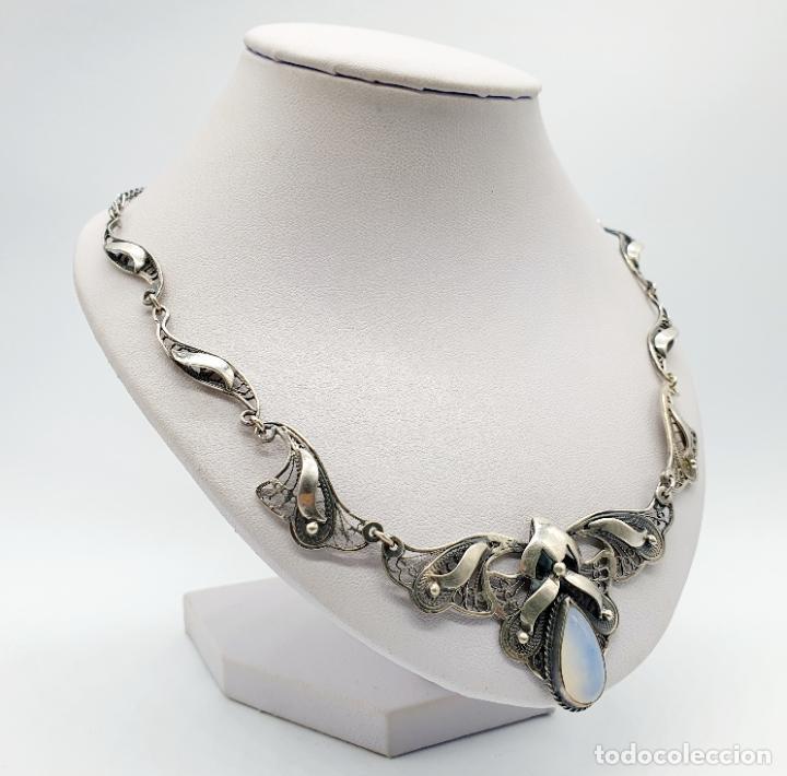 Joyeria: Magnífica gargantilla antigua estilo imperio en filigrana de plata de ley y cabujón de ópalo de mar - Foto 4 - 271387923
