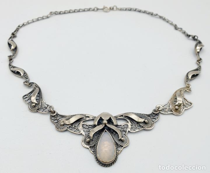 Joyeria: Magnífica gargantilla antigua estilo imperio en filigrana de plata de ley y cabujón de ópalo de mar - Foto 5 - 271387923