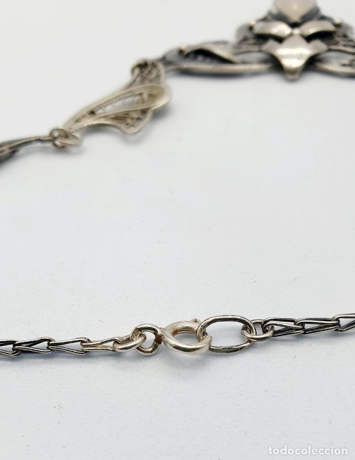 Joyeria: Magnífica gargantilla antigua estilo imperio en filigrana de plata de ley y cabujón de ópalo de mar - Foto 6 - 271387923
