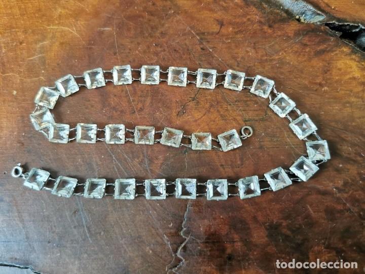 ANTIGUO COLLAR DE PLATA GERMANY CON CRISTALES TALLADOS 40 CM (Joyería - Collares Antiguos)