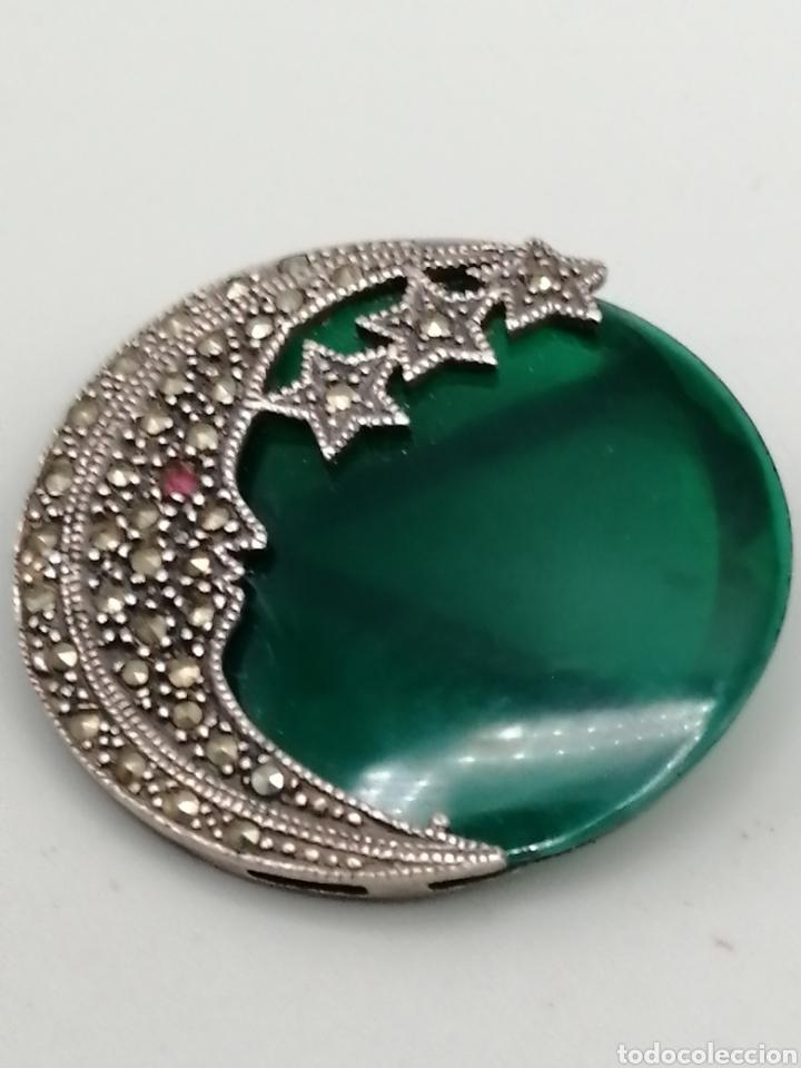 Joyeria: Broche plata de ley Ágata verde y marquesitas - Foto 2 - 275757883