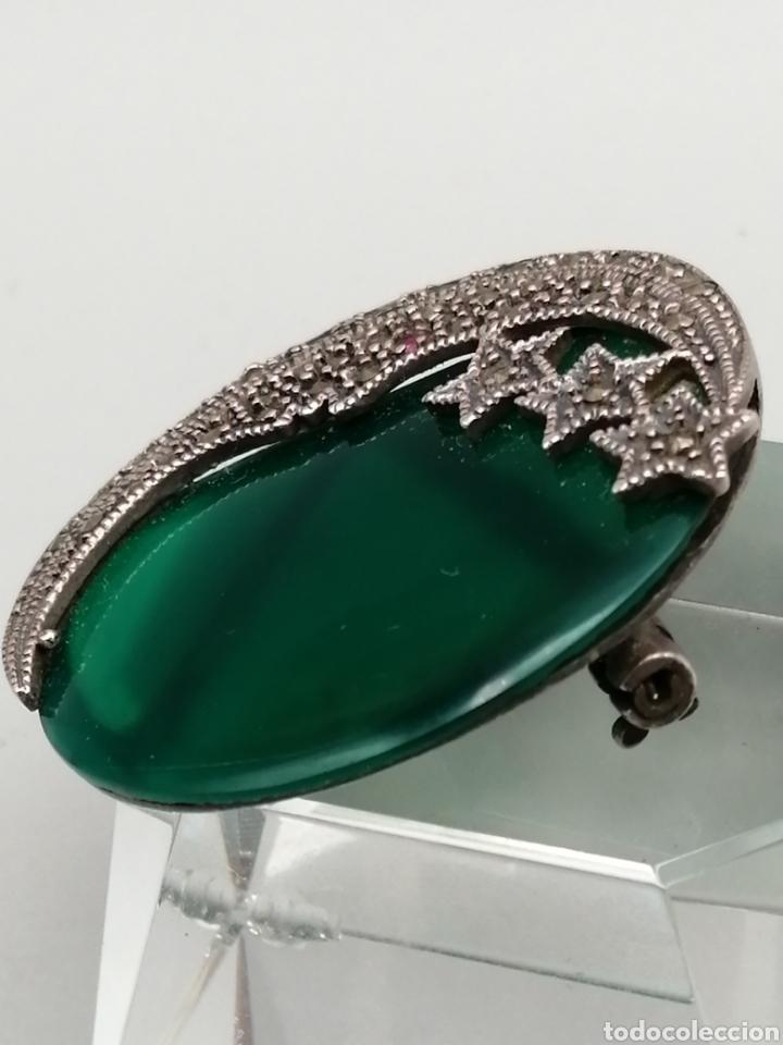 Joyeria: Broche plata de ley Ágata verde y marquesitas - Foto 3 - 275757883