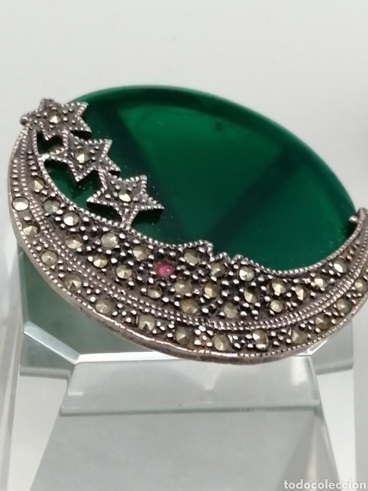 Joyeria: Broche plata de ley Ágata verde y marquesitas - Foto 4 - 275757883