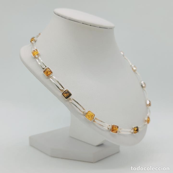 Joyeria: Elegante gargantilla de corte clásico en plata de ley contrastada y cabujones de ámbar auténtico . - Foto 4 - 276800033