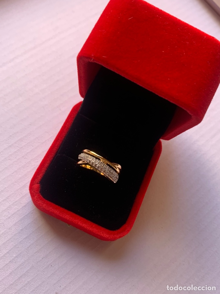 Joyeria: Precioso anillo de plata Laminado en Oro 18K Talla 7 Con piedras brillantes - Foto 3 - 276885738