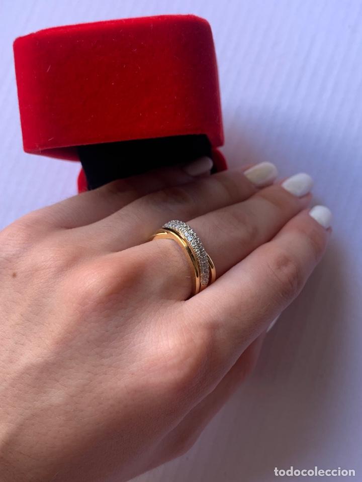 Joyeria: Precioso anillo de plata Laminado en Oro 18K Talla 7 Con piedras brillantes - Foto 4 - 276885738