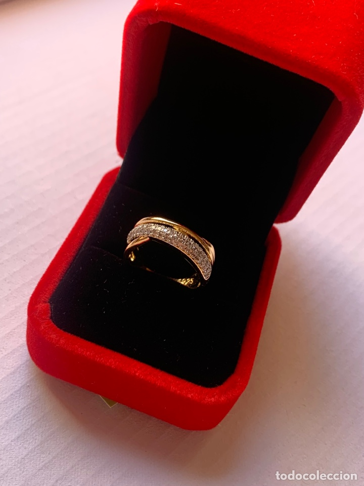 Joyeria: Precioso anillo de plata Laminado en Oro 18K Talla 7 Con piedras brillantes - Foto 6 - 276885738