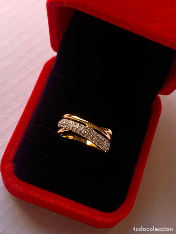 Joyeria: Precioso anillo de plata Laminado en Oro 18K Talla 7 Con piedras brillantes - Foto 7 - 276885738