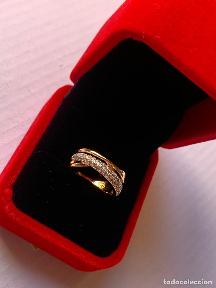 Joyeria: Precioso anillo de plata Laminado en Oro 18K Talla 7 Con piedras brillantes - Foto 2 - 276885738