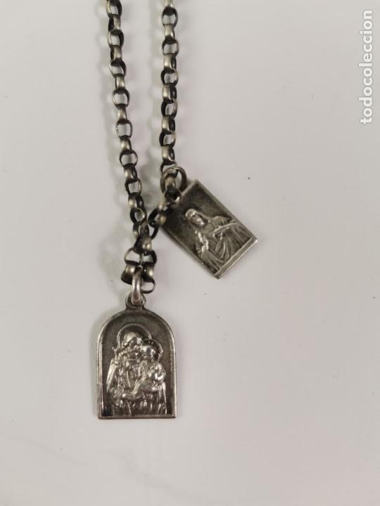 JOY-1682. CADENA DE PLATA CON 2 MEDALLAS RELIGIOSAS. PRINCIPIOS S.XX. (Joyería - Cadenas Antiguas)