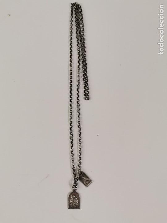 Joyeria: JOY-1682. CADENA DE PLATA CON 2 MEDALLAS RELIGIOSAS. PRINCIPIOS S.XX. - Foto 3 - 276909608