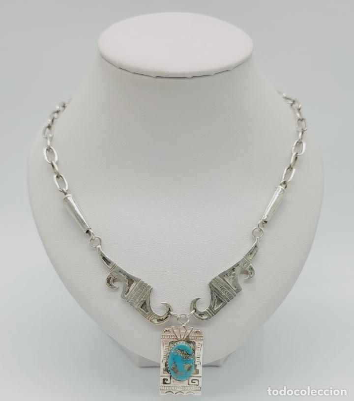 Joyeria: Gargantilla antigua nativa americana estiló Navajo en plata esterlina y cabujón de turquesa . - Foto 3 - 276964413