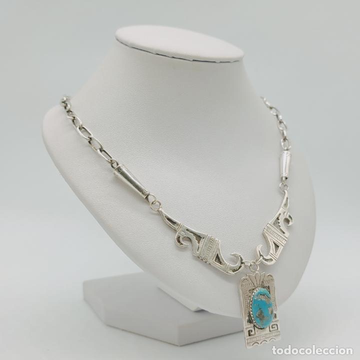 Joyeria: Gargantilla antigua nativa americana estiló Navajo en plata esterlina y cabujón de turquesa . - Foto 4 - 276964413