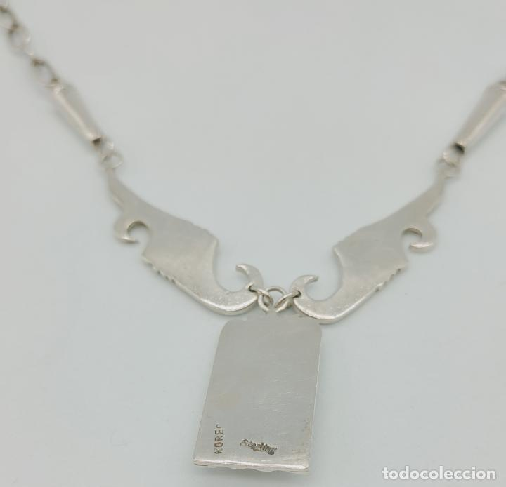 Joyeria: Gargantilla antigua nativa americana estiló Navajo en plata esterlina y cabujón de turquesa . - Foto 9 - 276964413