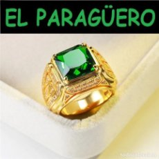 Joyeria: ELEGANTE SORTIJA DE ORO AMARILLO DE 24 KILATS LAMINADO-CON ZAFIROS - HAY MAS PREGUNTA TU TALLA. Lote 277300433