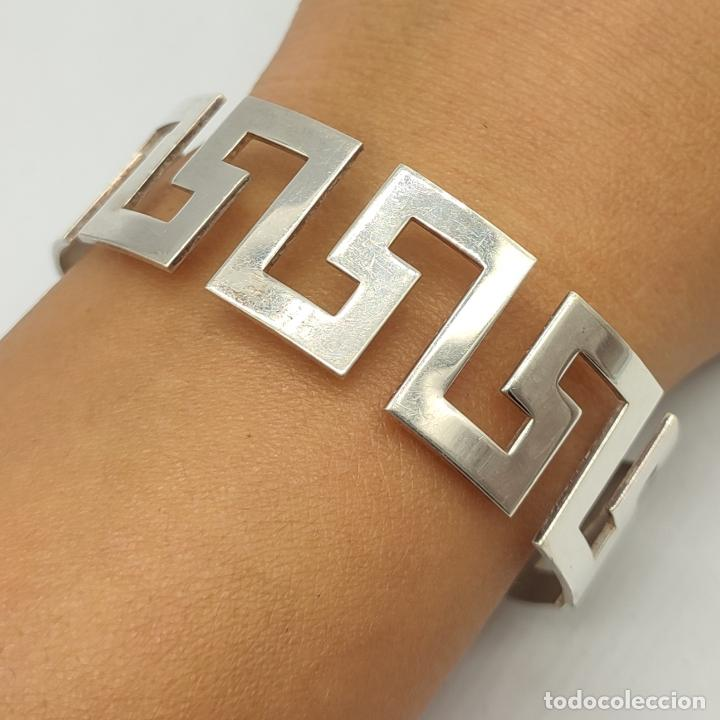 Joyeria: Magnífico brazalete en plata de ley 925 maciza formando cenefas grecas aztecas . - Foto 5 - 277502243