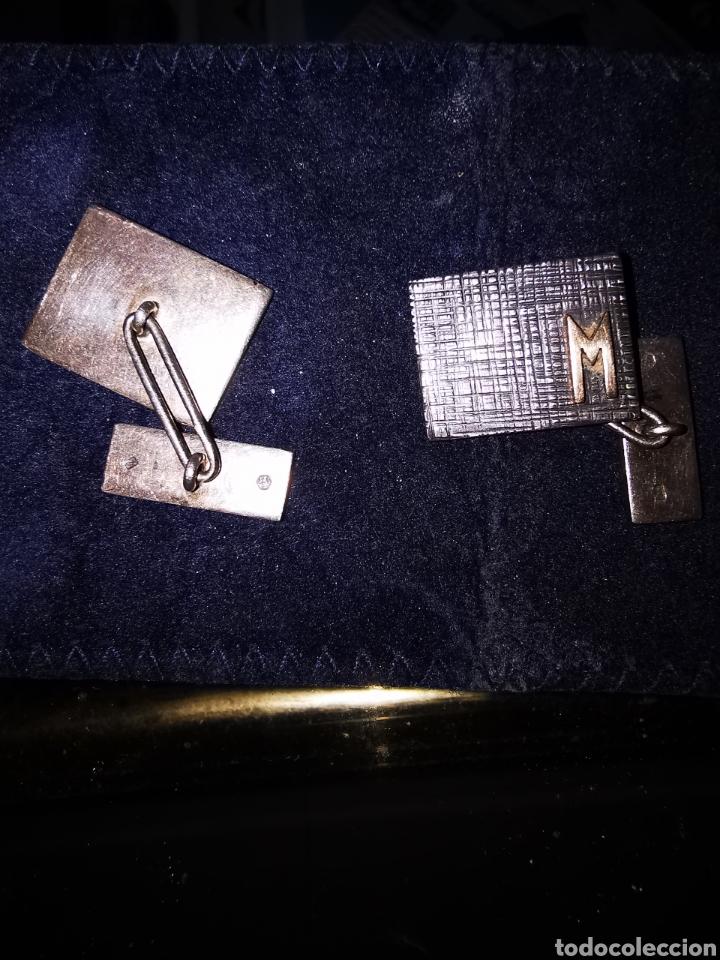 Joyeria: Gemelos de plata circa 1970 con inicial de oro - Foto 2 - 278533653