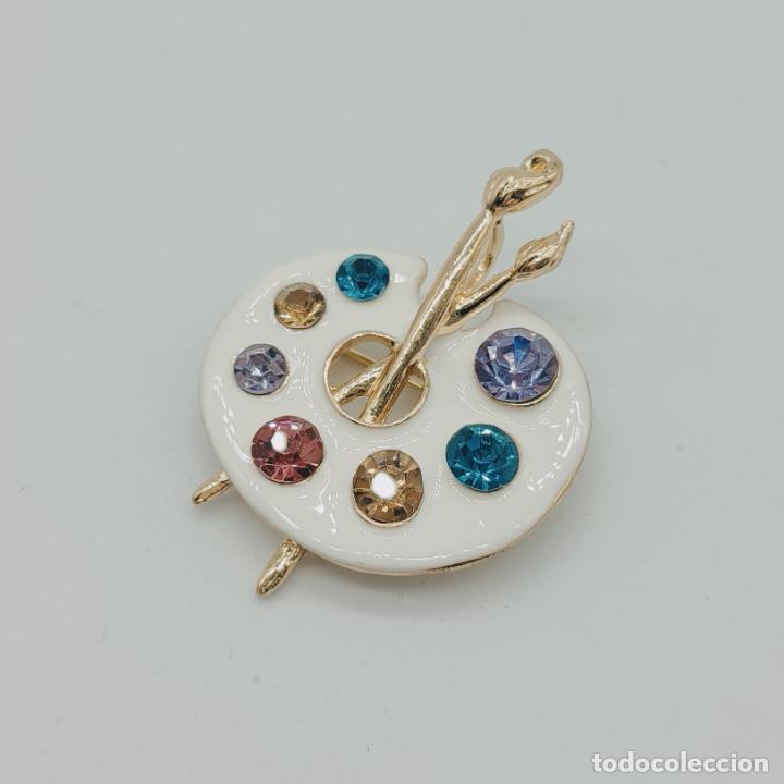 Joyeria: Bello broche colgante paleta de pintor con baño de oro de 18k, pedrería y esmalte . - Foto 4 - 280407903