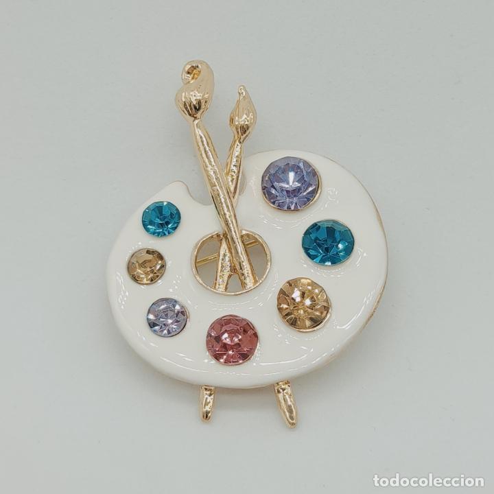 Joyeria: Bello broche colgante paleta de pintor con baño de oro de 18k, pedrería y esmalte . - Foto 5 - 280407903