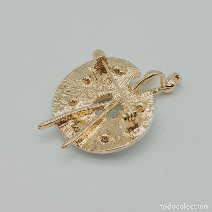 Joyeria: Bello broche colgante paleta de pintor con baño de oro de 18k, pedrería y esmalte . - Foto 6 - 280407903