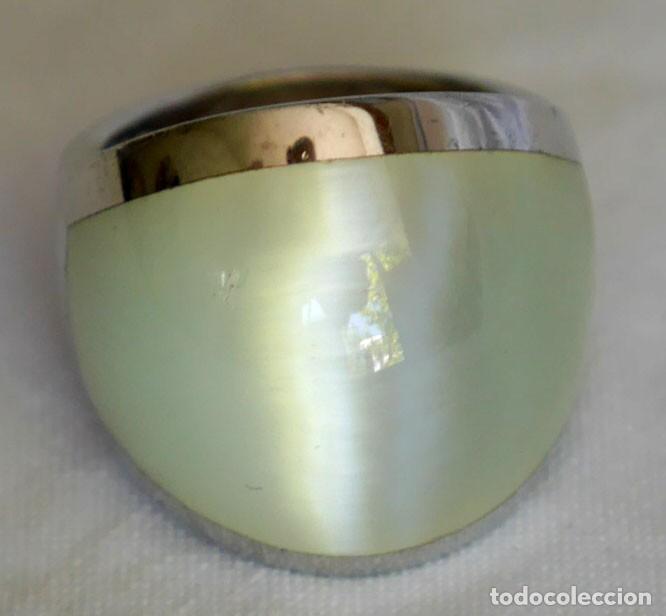 Joyeria: Anillo de piedra luna, plata 925 firmada Pedro Durán, efecto ojo de gato - Foto 2 - 280413603