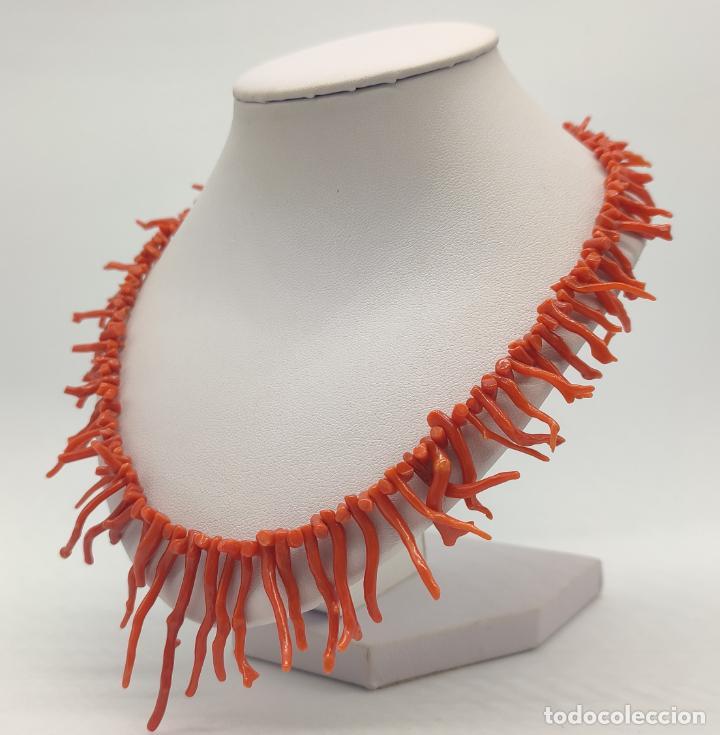 Joyeria: Magnífica gargantilla antigua art decó en ramas de coral auténtico . - Foto 2 - 280414963