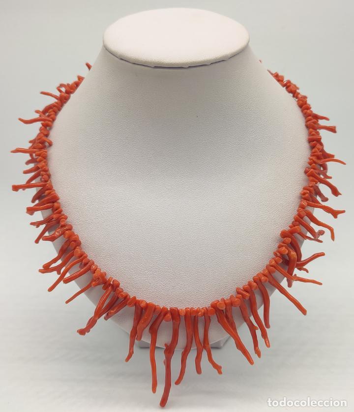 Joyeria: Magnífica gargantilla antigua art decó en ramas de coral auténtico . - Foto 3 - 280414963