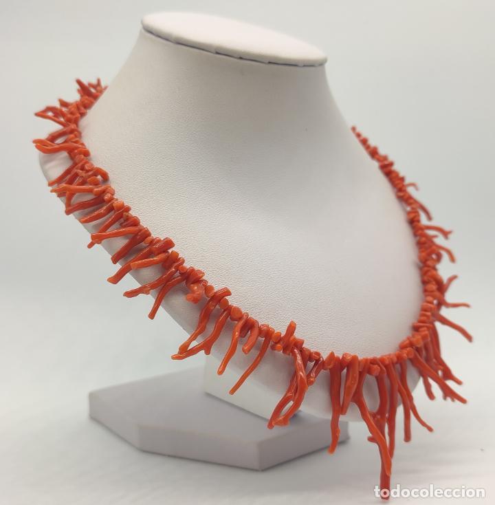 Joyeria: Magnífica gargantilla antigua art decó en ramas de coral auténtico . - Foto 4 - 280414963