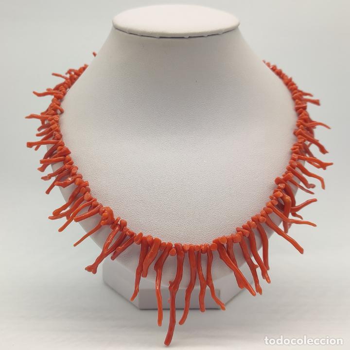 Joyeria: Magnífica gargantilla antigua art decó en ramas de coral auténtico . - Foto 5 - 280414963