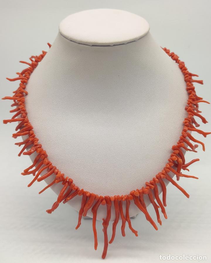 Joyeria: Magnífica gargantilla antigua art decó en ramas de coral auténtico . - Foto 6 - 280414963