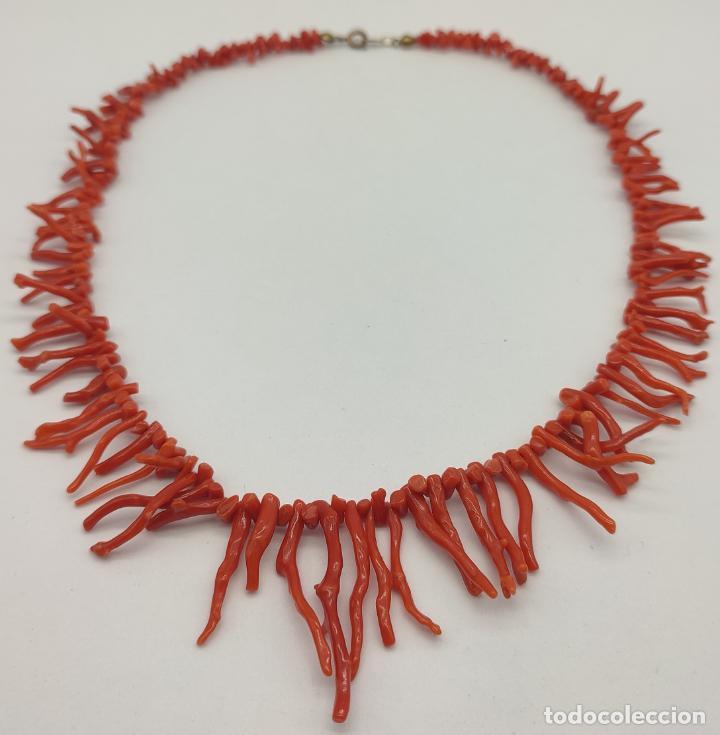 Joyeria: Magnífica gargantilla antigua art decó en ramas de coral auténtico . - Foto 7 - 280414963