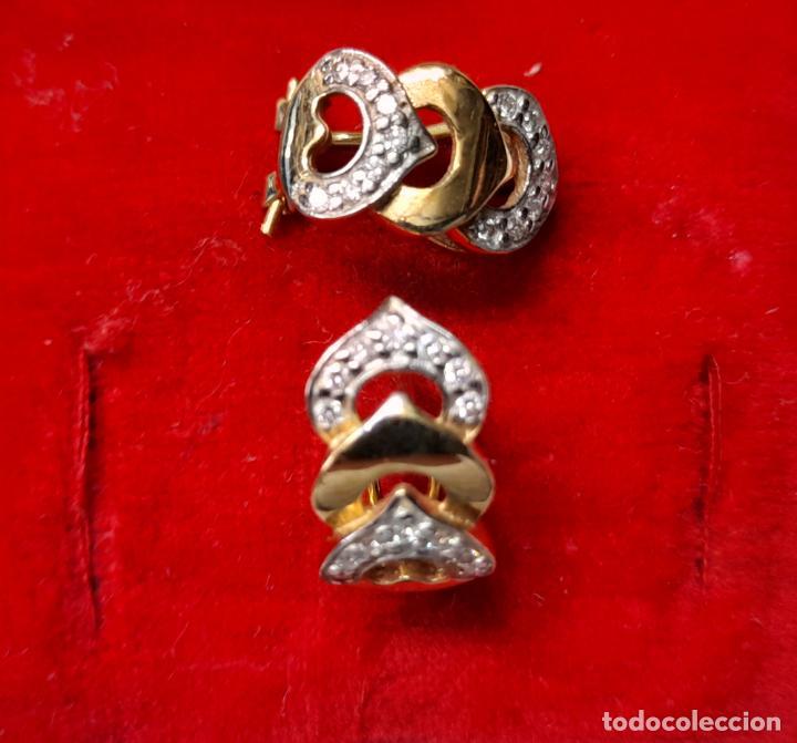 Joyeria: bonitos pendientes de corazones en oro blanco y amarillo 18 kilates y circonitas - Foto 2 - 283167643