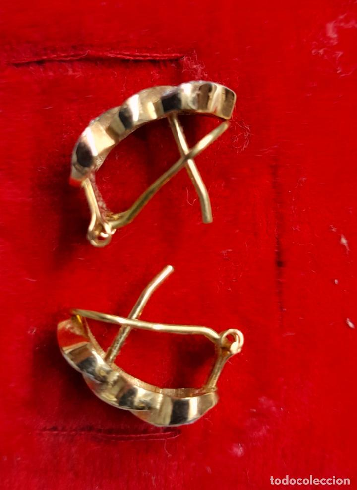 Joyeria: bonitos pendientes de corazones en oro blanco y amarillo 18 kilates y circonitas - Foto 3 - 283167643