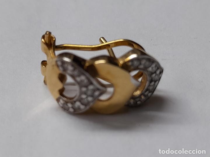 Joyeria: bonitos pendientes de corazones en oro blanco y amarillo 18 kilates y circonitas - Foto 6 - 283167643